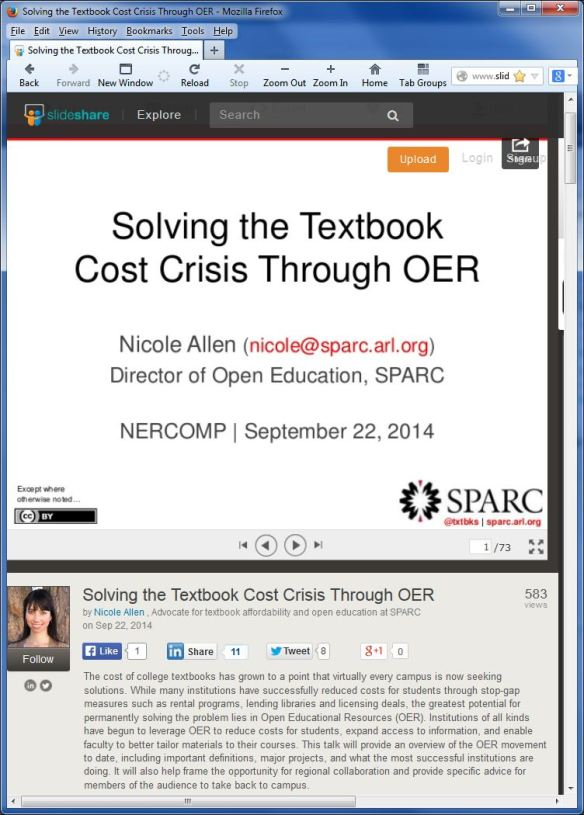 Nicole Allen, Solving the Textbook Cost Crisis Through OER
