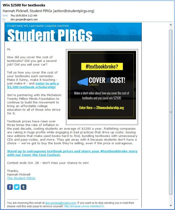 Student PIRGs -Stand up to outrageous textbook prices and share your textbookbroke story with our Cover the Cost Contest