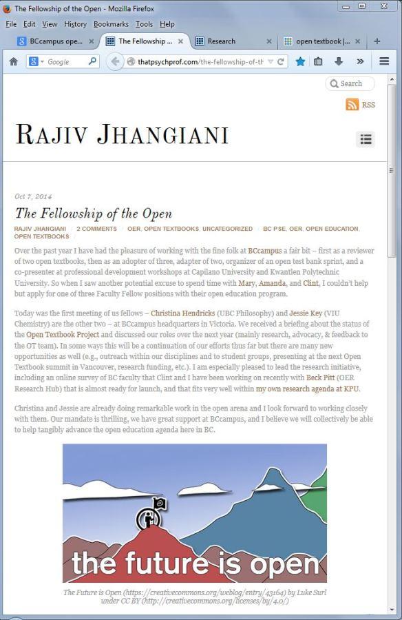 Rajiv Jhangiani Fellowship of the Open Textbook