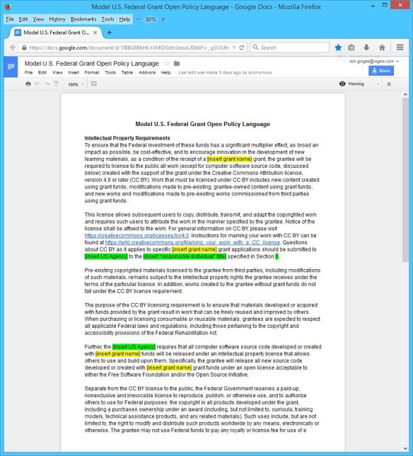 Creative Commons Model U.S. Federal Grant Open Policy Language 01