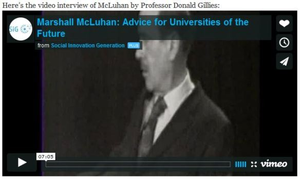 video interview of McLuhan by Professor Donald Gillies