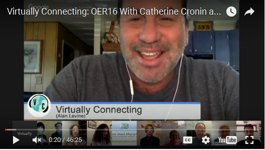 Alan Levine connecting OER16 With Catherine Cronin and Jim Groom