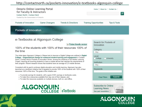 Algonquin College E-Text Initiative Presentation